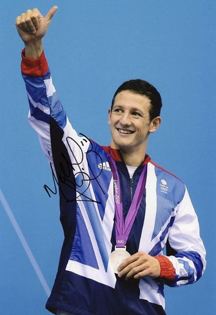 Michael Jamieson, Olympics swimmer, signed 12x8 inch photo.